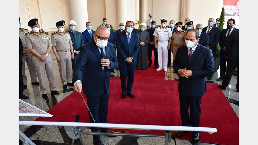 الرئيس عبد الفتاح السيسي يتابع الموقف التنفيذي والإنشائي الخاص لمدينة الفنون بمدينة العلمين الجديدة