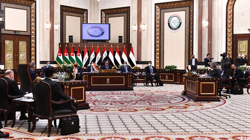 الرئيس عبد الفتاح السيسي يشارك في قمة ثلاثية مع رئيس الوزراء العراقي والعاهل الأردني
