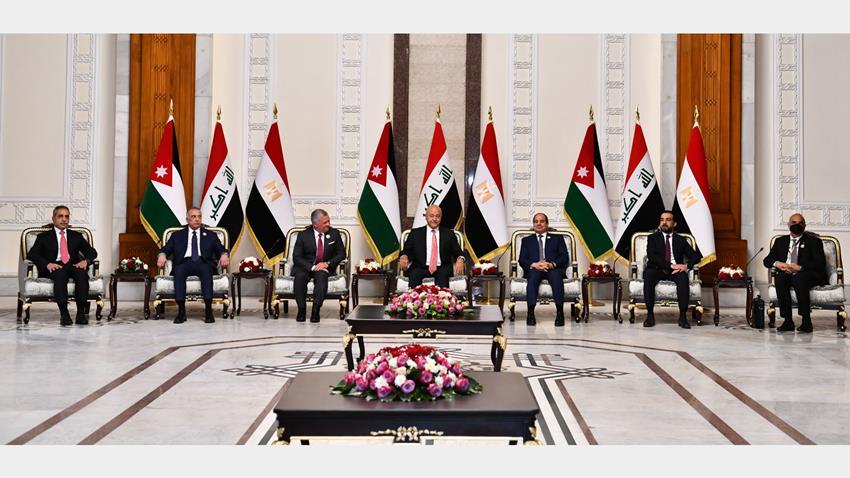الرئيس عبد الفتاح السيسي يشارك في اجتماع رباعي مع رئيس جمهورية العراق وملك الأردن ورئيس وزراء العراق