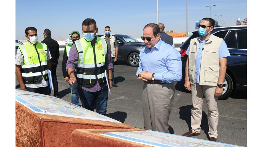 الرئيس عبد الفتاح السيسي يتفقد أعمال تطوير الطرق والمحاور الجديدة بالقاهرة الكبرى