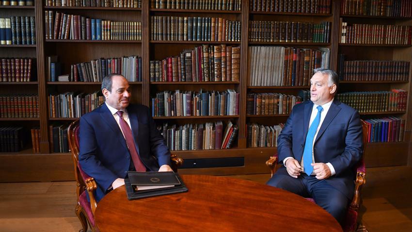 الرئيس عبد الفتاح السيسي يعقد جلسة مباحثات مع رئيس الوزراء المجري بمقر رئاسة الوزراء ببودابست
