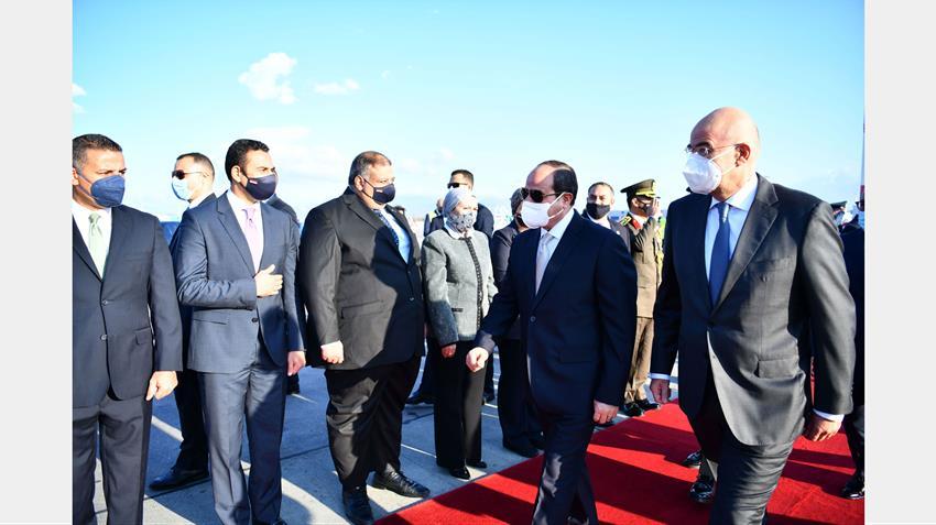الرئيس عبد الفتاح السيسي يصل إلى العاصمة اليونانية أثينا -