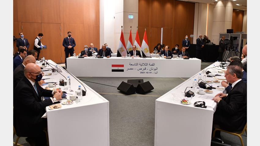 الرئيس عبد الفتاح السيسي يشارك في قمة ثلاثية بين مصر وقبرص واليونان