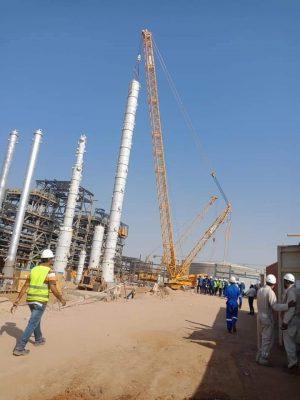 بتروجت تنتهي من رفع وتركيب أطول برج بمشروع إنتاج البنزين عالي الأوكتان بأسيوط