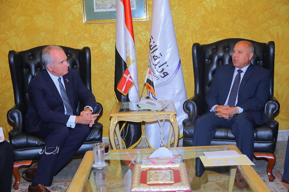 وزير النقل الفريق كامل الوزير، يستقبل توماس أنجر كريستنسن، سفير الدنمارك في القاهرة .