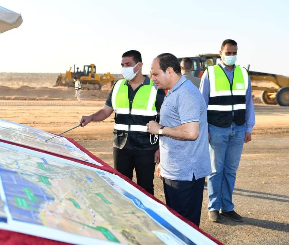 تفقد الرئيس عبد الفتاح السيسي مشروعات شبكة الطرق الجديدة لمنطقة الساحل الشمالي
