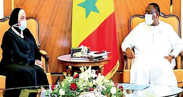 خلال استقباله وزيرة التجارة والصناعة الرئيس السنغالى: ندعم حق مصر فى مياه النيل