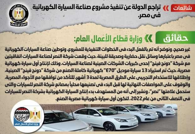 أخبار مصر.. الحكومة تنفى تراجع الدولة عن تنفيذ مشروع صناعة السيارة الكهربائية